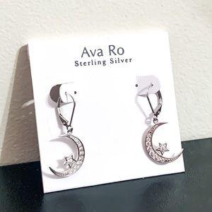 Ava Ro Sterling Silver CZ Moon/Star Hook Earrings